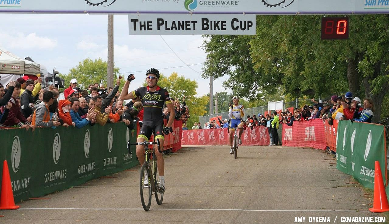 Ryan Trebon takes his first UCI win of the season over Wellens. © Amy Dykema