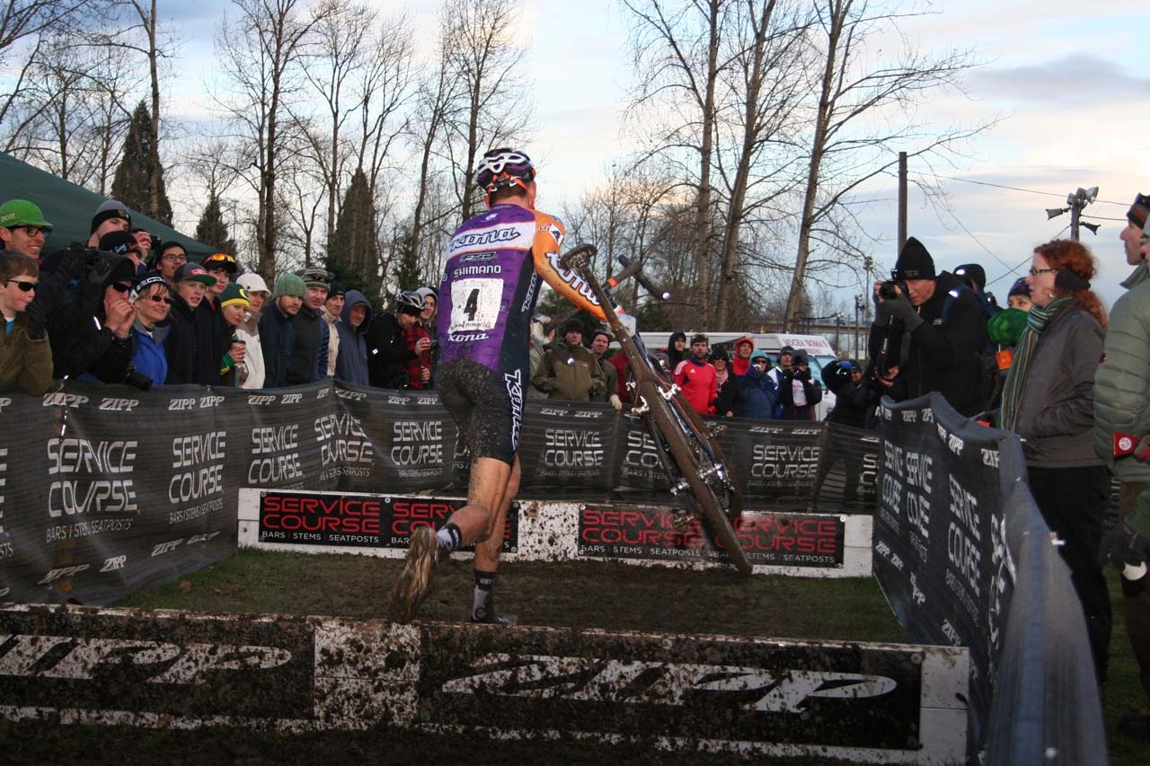 Still over a lap left, but this would be Trebon\'s final hurdles © Josh Liberles
