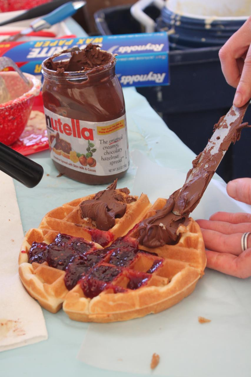 300+ waffles a day fund this enterprising racer's road season.  ? Andrew Yee