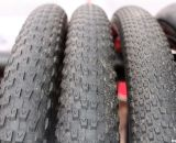 Vee Rubber's cyclocross tires, from left to right: 8, 10, 12 in 700x35c. Interbike 2011. © Cyclocross Magazine