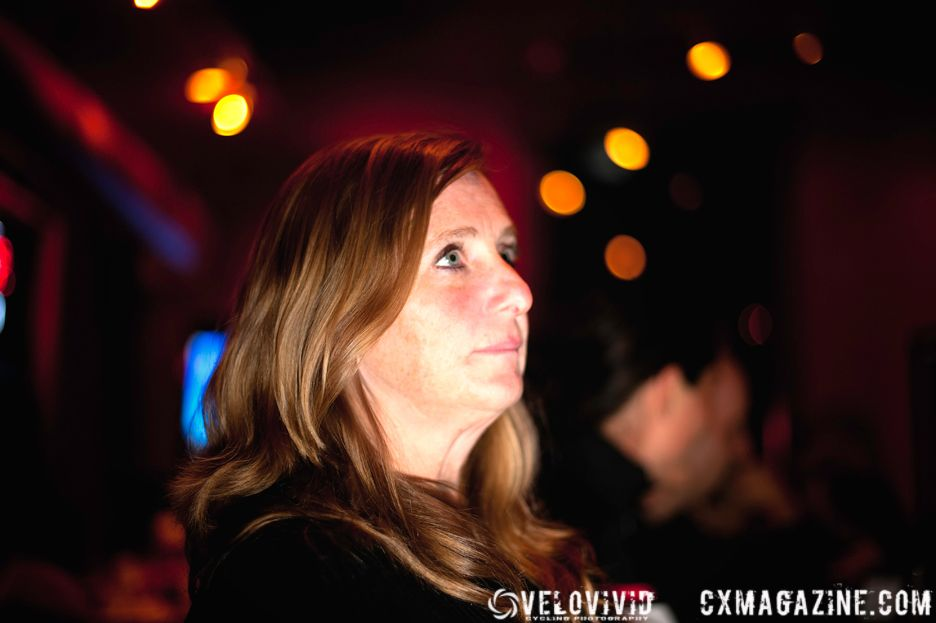 Lousiville based Rogue Racing Project member Sherri Thompson listening to Cincy3 Single Speed Cyclocross winner Craig Etheridge (Raleigh). © VeloVivid Photography
