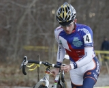 Nick Keough (Champion System p/b Keough Cyclocross) in the sand ©Peter Ozolins Photography