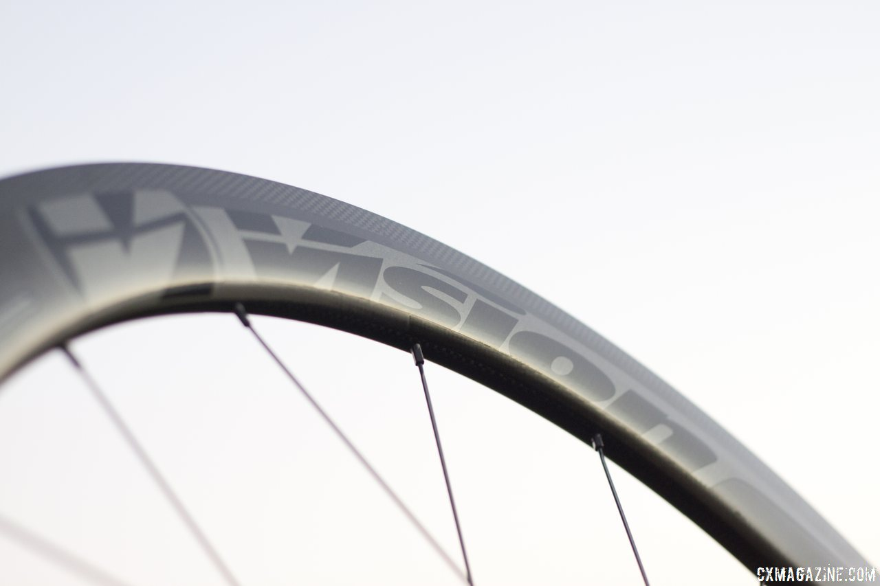 Stealth graphics make the Vision Tech\'s Metron 40 carbon tubular wheels hard to spot. © Cyclocross Magazine