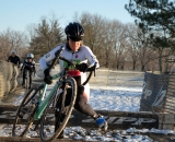 Kauffman takes the barriers at 2013 Masters World Championships of Cyclocross. © Cyclocross Magazine