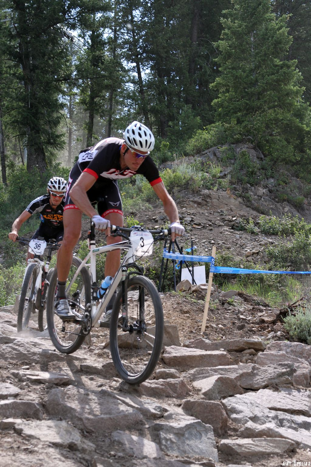 Ryan Trebon at the end of the first lap coming through the rock drop. ©Amy Dykema