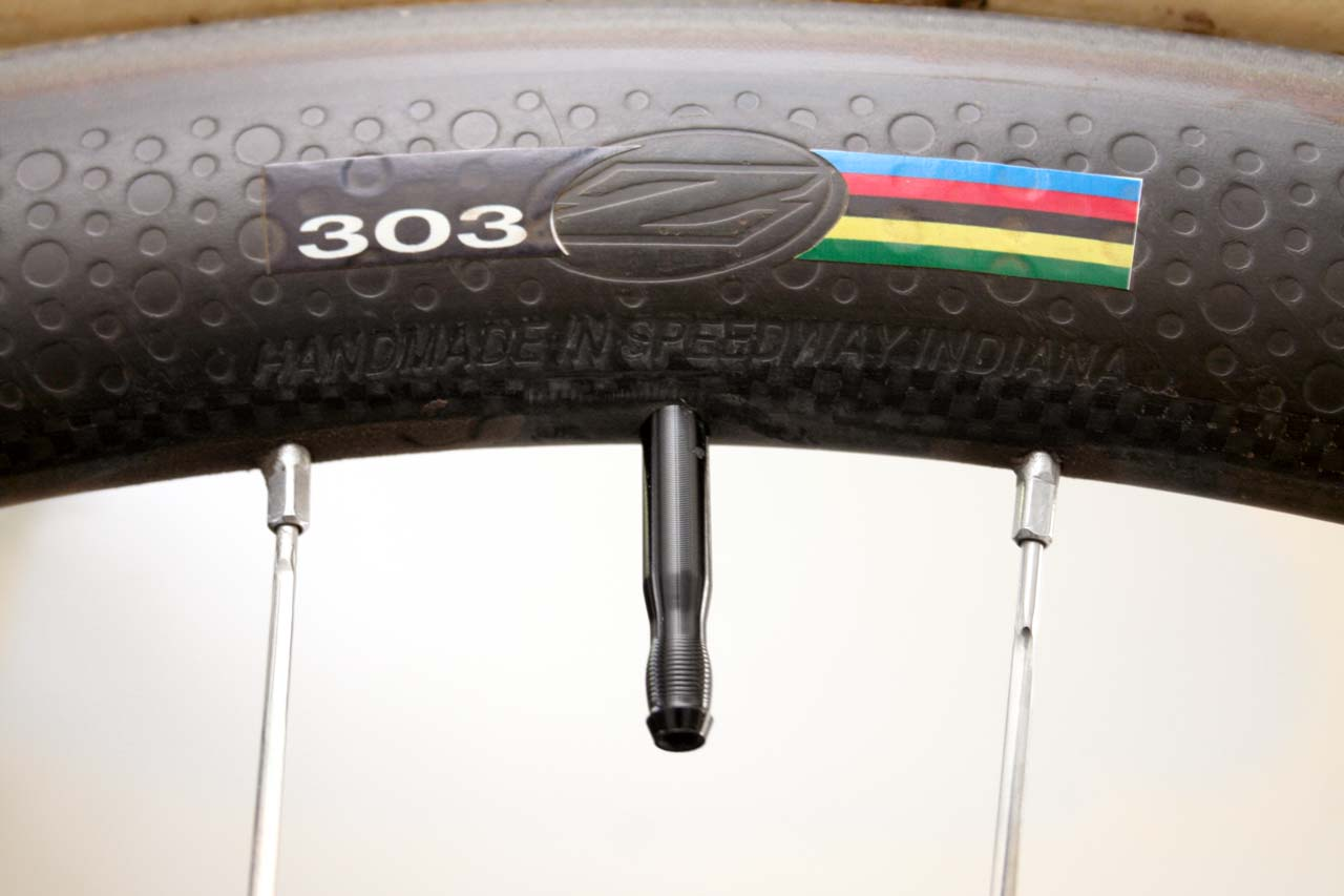 The Zipp 303 offers dimples for better aerodynamics on the road and fast cx courses. Matching rainbow jersey is optional. ? Cyclocross Magazine