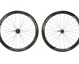 Drive side view of Zipp's 303 Firecrest disc brake carbon tubular wheelset. photo: Zipp