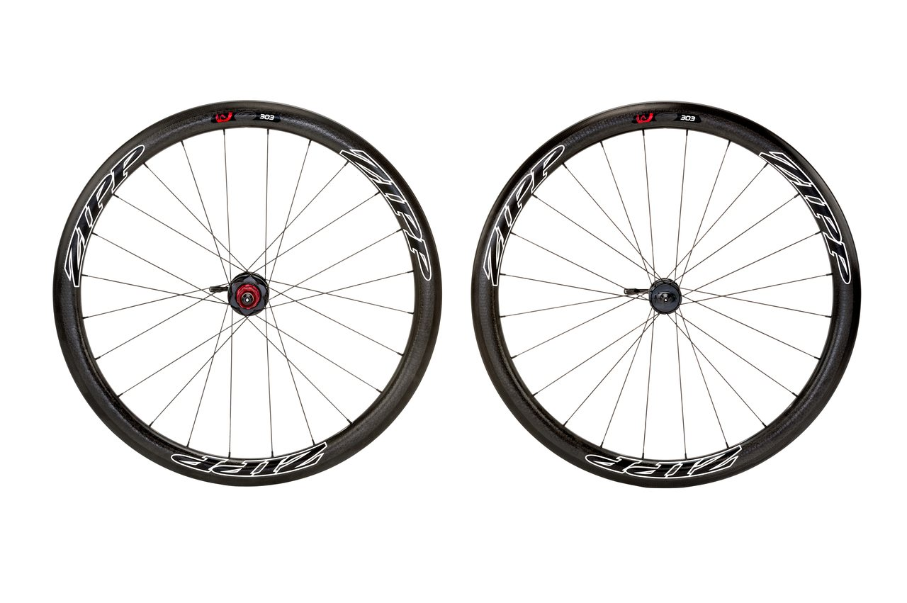 Drive side view of Zipp\'s 303 Firecrest disc brake carbon tubular wheelset. photo: Zipp