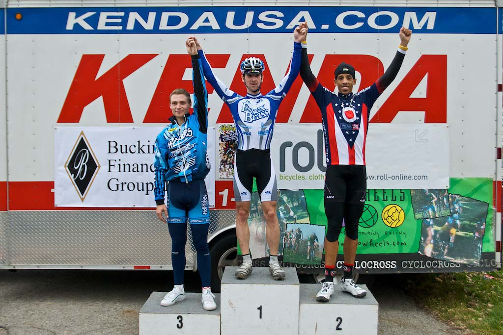 Martz (l), Saari and Card on the elite men's podium. ? Jeffrey B. Jakucyk