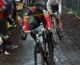 Nys led the chase of the leading three but crashed, going over the bars. 2009 Zolder Cyclocross World Cup. © Bart Hazen