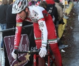Troy Wells showed some American mountain bike style with his helmet visor. 2009 Zolder Cyclocross World Cup. ? Bart Hazen