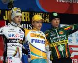 The final podium: 1) Pauwels, 2) Albert, 3) Nys. 2009 Zolder Cyclocross World Cup. ? Bart Hazen