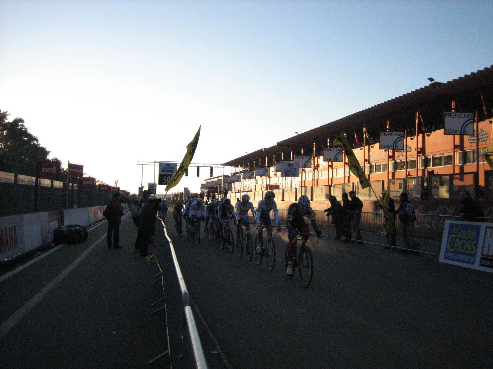 Chase group behind the leaders at sunset.