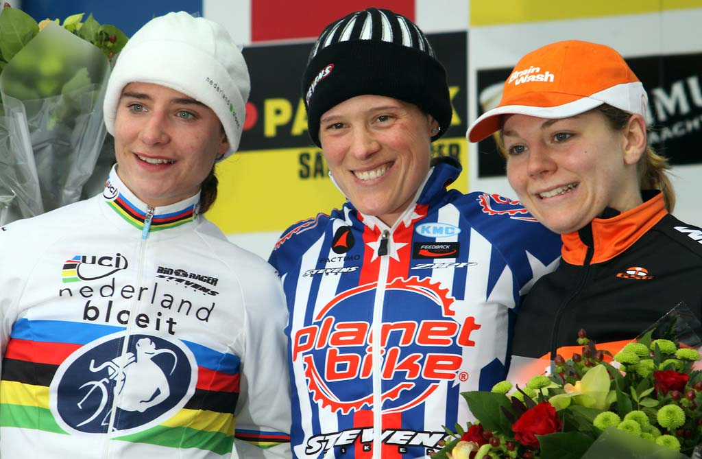 Women\'s podium at the World Cup in Zolder. From Left to Right: Vos - Compton - Van Paassen. © Bart Hazen