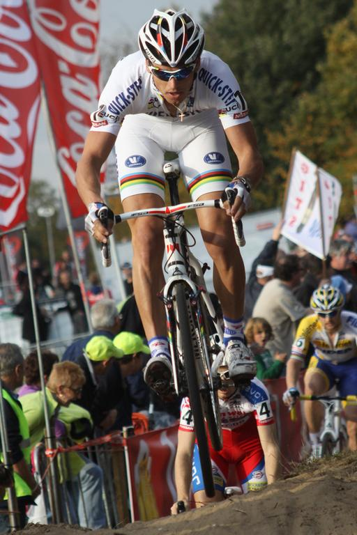 Zdenek Stybar flying in the air.  © Bart Hazen