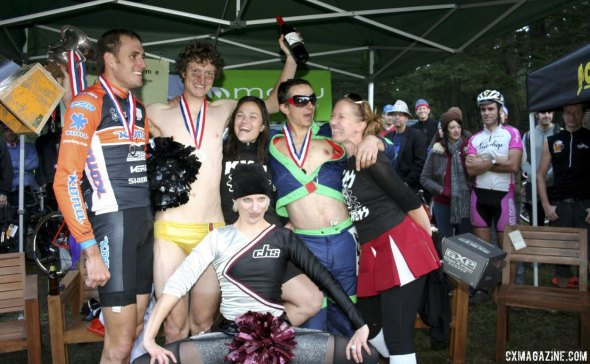 Ryan Trebon, winner Barry Wicks, and Adam Craig celebrate after the inaugural SSCXWC in Portland. 2007. © Cyclocross Magazine