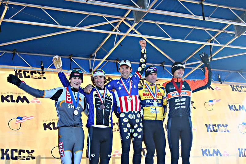 Elite Men's Podium of the 2007 USA Cycling Cyclocross National Championships in Kansas City. ©Cyclocross Magazine