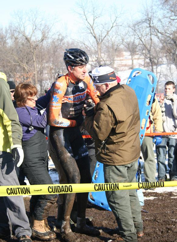 Trebon finally rises from the head-on collision. ©Cyclocross Magazine