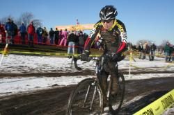 Katie Compton racing to her fourth elite cyclocross national championship. by Cyclocross Magazine