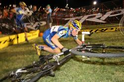 Georgia Gould trips on cyclocross barrier at Cross Vegas