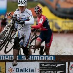 Hanka Kupfernagel hits the barriers shadowed by Marianne Vos, Photo by Joe Sales