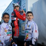 Eric Emsky treats race day like a pro, signs autographs for some young fans like a pro. Photo by Joe Sales