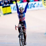 Katie Compton wins the Cyclocross World Cup in Roubaix. © Joe Sales