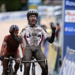 Zach McDonald sprints at the Roubaix World Cup, Photo by Joe Sales