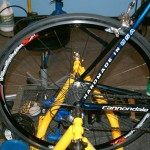 The Power Tap wheel and bike set up for the spin scan. by Kenton Berg.