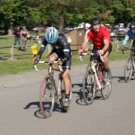 Trying singlespeed. Kenton tucks in between Hup United's Zac Daab and Bernard Georges. by Susan Berg