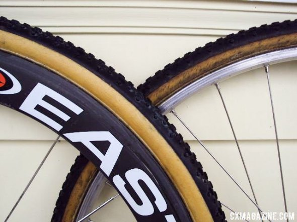 One Challenge cyclocross tubular sealed with urethane, one not. Can you tell the difference.  © Cyclocross Magazine