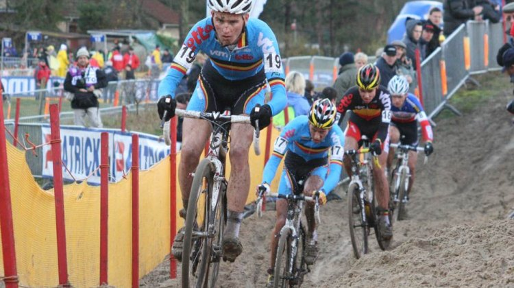 Jim Aernouts on his way to winning the U23 race at the 2009 Koksijde World Cup. © Bart Hazen