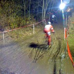 Record rains made for record mud for Jingle Cross Day 1. Troy Wells attacks the muddy climb. © Jaredy Roy