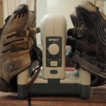 A typical post-race hotel scene: 'Cross shoes, lingering mud, Dry Guy, coffee pot © Josh Liberles