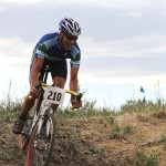 Lee Waldman in the drops, working on skills in a short track MTB race © Annette Hayden, MountainMoonPhotography.com