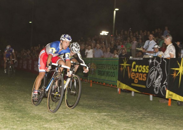 Francis Mourey outkicks Jamey Driscoll for the 2010 CrossVegas win. © Larry Rosa Photography