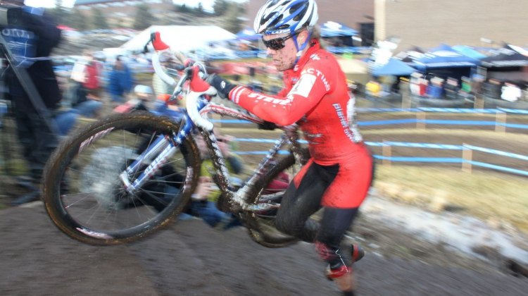 Katie Compton (Planet Bike) rises to a record seventh straight cyclocross national championship. ©Cyclocross Magazine