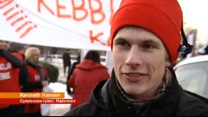 Kenneth Hansen, new Danish cyclocross champ, interviewed after race