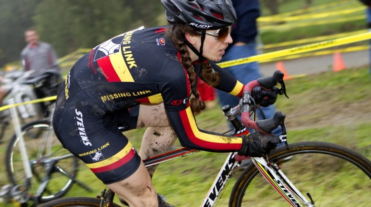 Thurston on her way to her first cyclocross win. Socal vs. Norcal Cyclocross Championships. © Tim Westmore