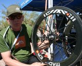 Ric Hjertberg models his new carbon babies © Josh Liberles