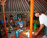 The team meets over breakfast in a traditional yurt. Photo: Courtesy Tom Lanhove