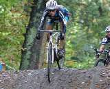 Christine Vardaros descends the steep hill at the Citadelle de Namur GVA cyclocross race. by Marc Van Est