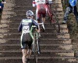 Todd Wells (Cal Giant-Specialized) leads Jeremy Powers (Cannondale-CyclocrossWorld.com) up the stairs, Men