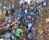 The men attack the run-up on lap one © Dave Chiu