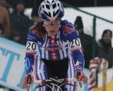 Katie Compton racing at the Zolder World Cup. © Bart Hazen