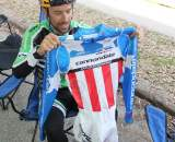Tim Johnson unveils his new National Championship kit at the Surf City Finale, Aptos High, 2010 © Cyclocross Magazine