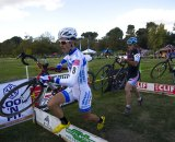 Chris Jones leads the field in this cyclocross race, and he won our unofficial cyclocross bracket of the Amgen Tour of California. © Eric Colton