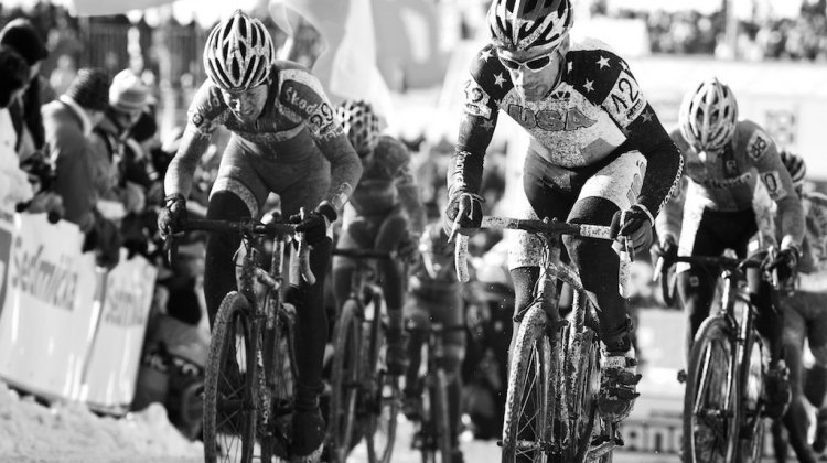 Tim Johnson grits it out to become the highest US finisher at the 2010 Cyclocross World Championships in Tabor, Czech Republic. © Joe Sales
