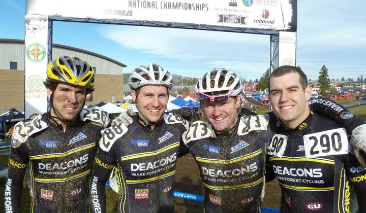 Austin Jones, Trey Wofford, James McCabe and Chris Lowe at Cyclocross Nationals. Photo Courtesy of James McCabe