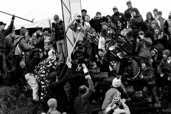 The crowd, including Panda-man and Mr. Gumbi goes crazy as local racer Ryan Trebon tries to bridge up to race leaders Tod Wells (Specialized) and Jeremy Powers (Cannondale/Cyclocrossworld) at 2011 Nationals © Joe Sales